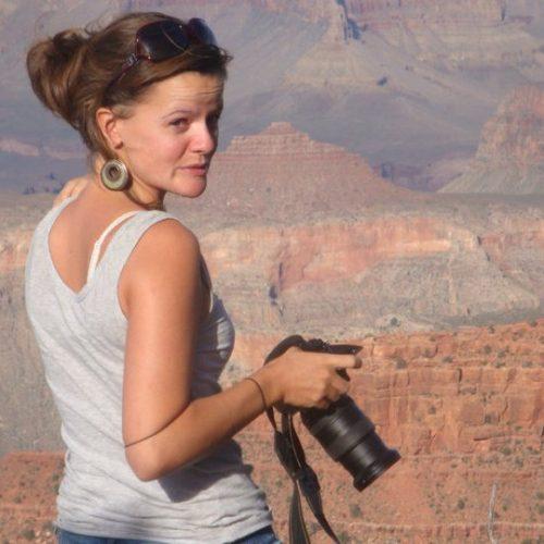 Celine Van Cauwenberghe aan de Grand Canyon